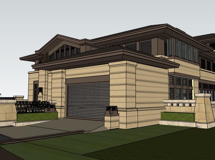 田园法式风格独栋别墅建筑模型设计(水石国际)-别墅建筑SU模型5
