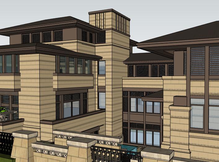 田园法式风格独栋别墅建筑模型设计(水石国际)-别墅建筑SU模型6