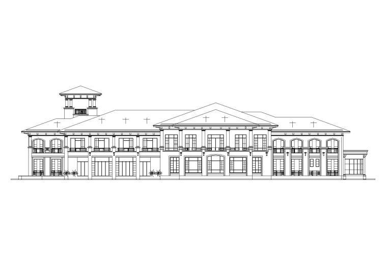 [山西]某居住区阁楼会所建筑施工图-01立面图