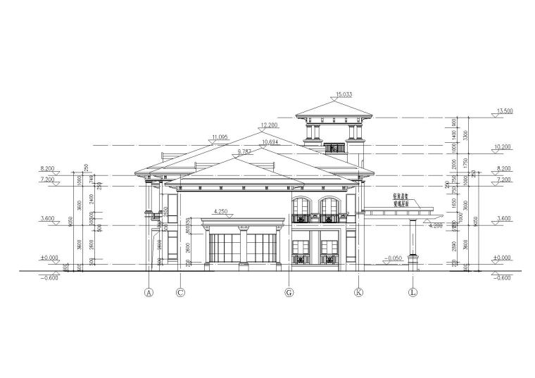 [山西]某居住区阁楼会所建筑施工图-03立面图