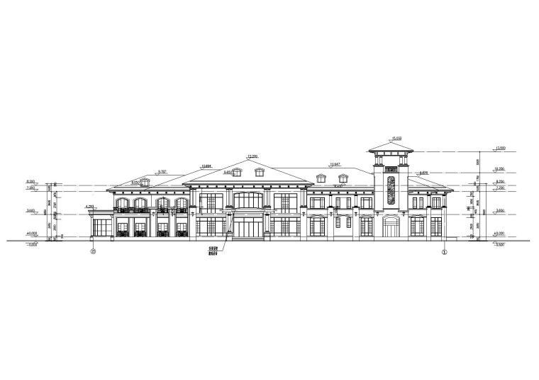 [山西]某居住区阁楼会所建筑施工图-02立面图