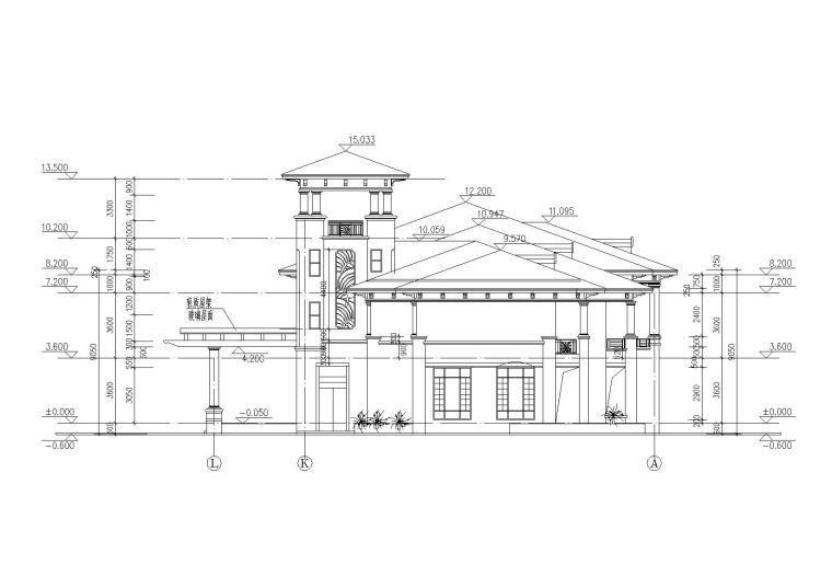 [山西]某居住区阁楼会所建筑施工图-04立面图