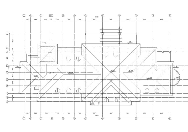 [山西]某居住区阁楼会所建筑施工图-08屋顶平面图