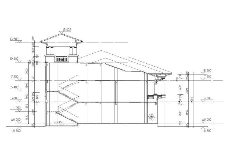 [山西]某居住区阁楼会所建筑施工图-09剖面图