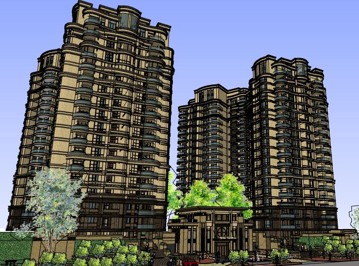 丽都花苑高层住宅建筑模型设计