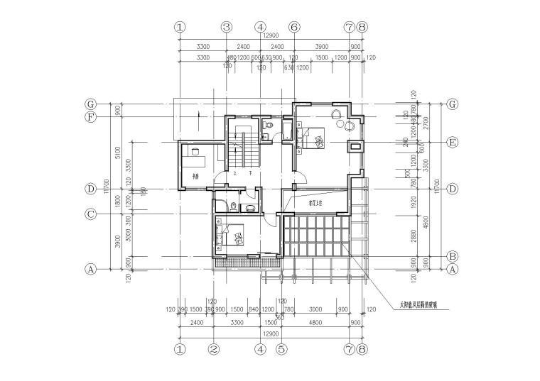 [江苏]连云港村镇月湾别墅建筑方案图-06二层平面图