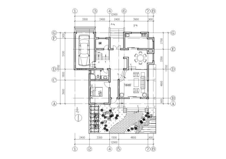 [江苏]连云港村镇月湾别墅建筑方案图-05一层平面图
