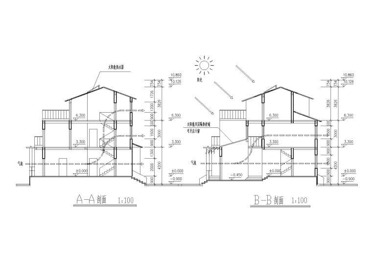 [江苏]连云港村镇月湾别墅建筑方案图-09剖面图