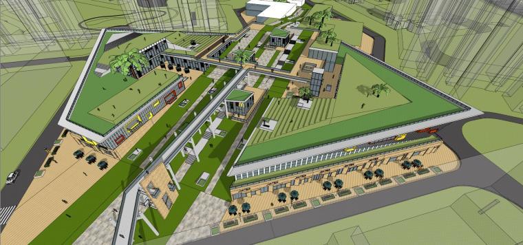 现代风格商业广场建筑模型设计-商业广场方案 (2)