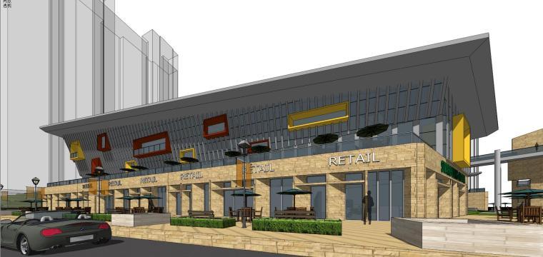 现代风格商业广场建筑模型设计