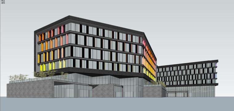 现代风格创意办公单体建筑模型设计-创意办公 单体 (2)
