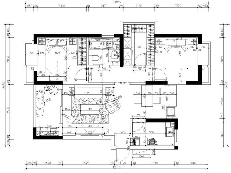 [浙江]杭州白马山庄两居室样板房装修施工图-2平面尺寸图