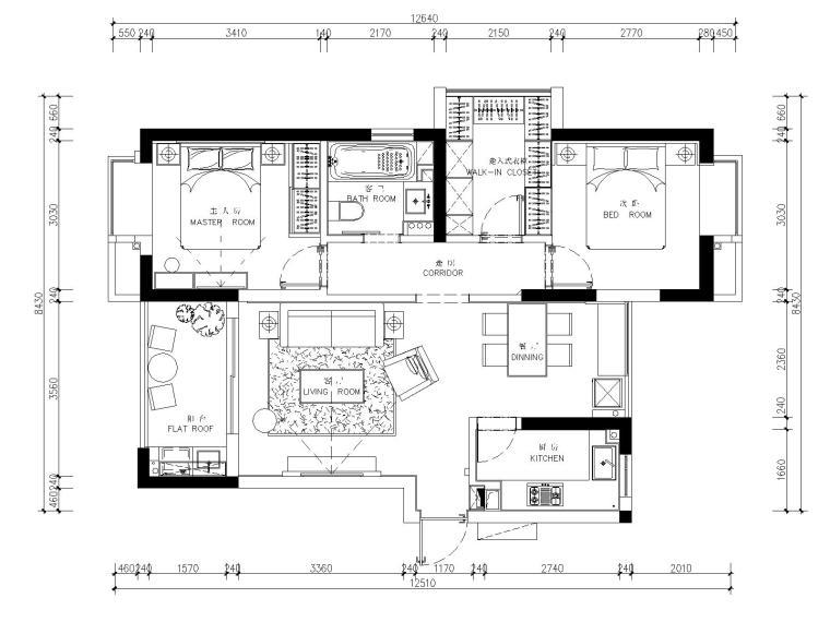 [浙江]杭州白马山庄两居室样板房装修施工图