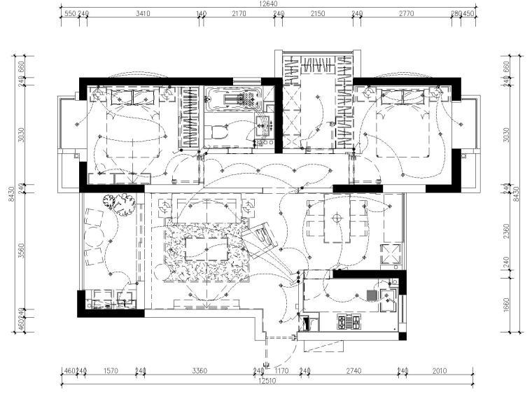 [浙江]杭州白马山庄两居室样板房装修施工图-5开关布置图