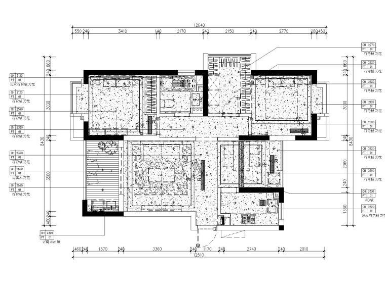 [浙江]杭州白马山庄两居室样板房装修施工图-3天花布置图