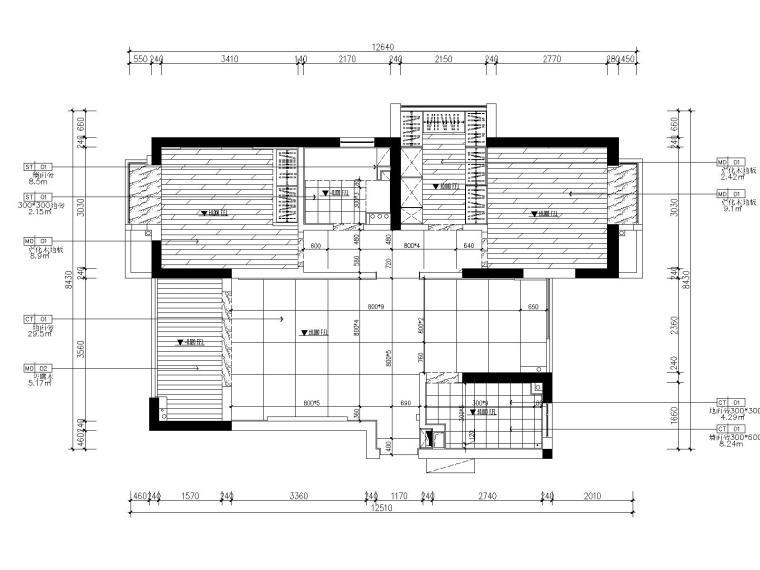 [浙江]杭州白马山庄两居室样板房装修施工图-4地坪铺设图