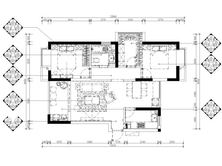 [浙江]杭州白马山庄两居室样板房装修施工图-6立面索引图