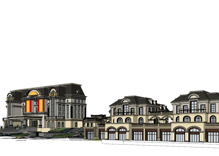 法式风格商业会所建筑模型设计