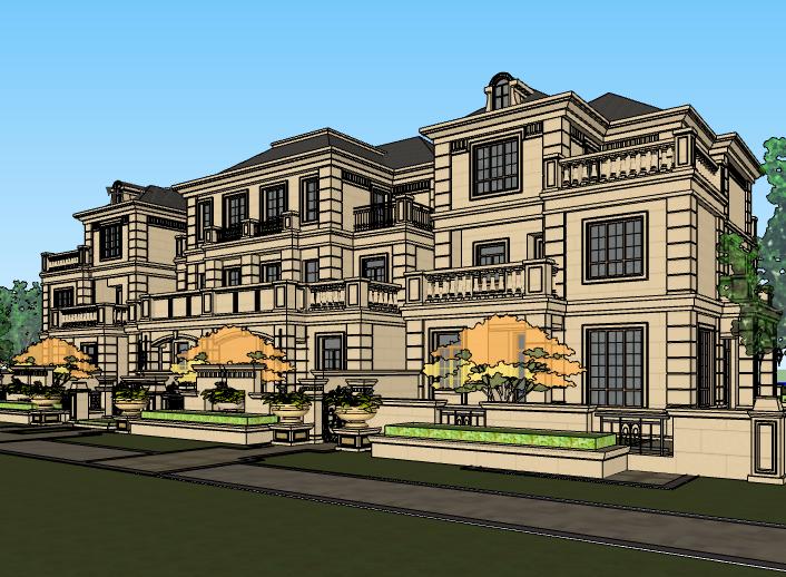 欧陆风格三层联排别墅建筑模型设计(水石)