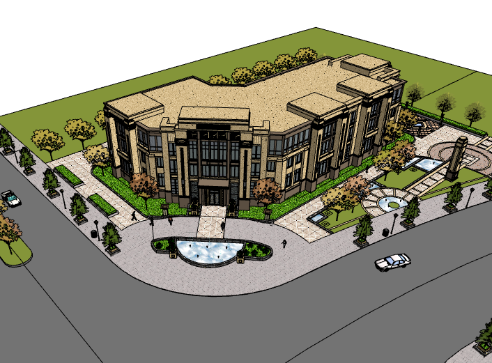 长申玉售楼处建筑模型设计(水石)-售楼处建筑SU模型5