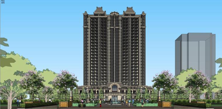 高层住宅建筑模型设计(法式风格)
