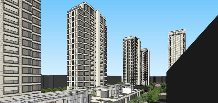 阳光城居住区建筑模型设计(新中式风格)-阳光城·杨浦区平凉社区地块投标 天华 (9)