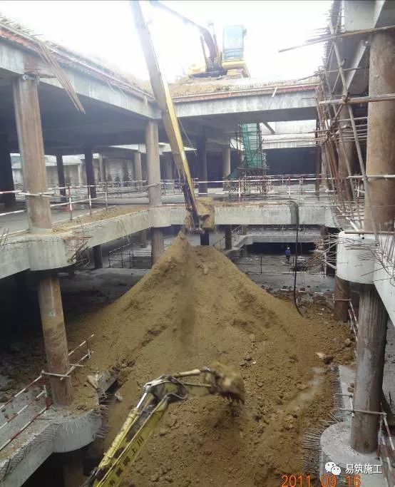 超高层建筑22米深基坑逆作法施工现场,看基础如何倒过来施工