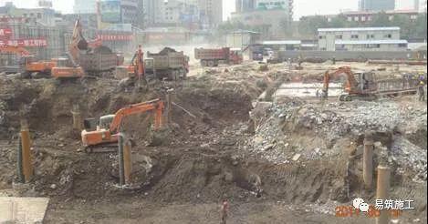 超高层建筑22米深基坑逆作法施工现场,看基础如何倒过来施工_7