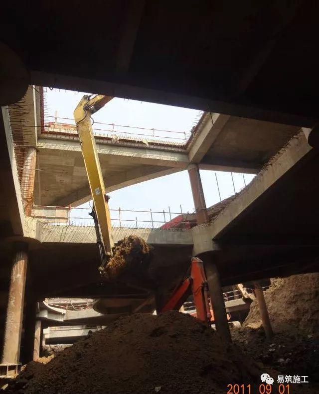 超高层建筑22米深基坑逆作法施工现场,看基础如何倒过来施工_23