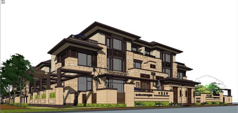 万濠山庄双拼别墅建筑模型设计-万濠山庄 草原风双拼-260南北入 (3)