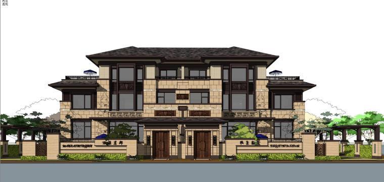 万濠山庄双拼别墅建筑模型设计-万濠山庄 草原风双拼-260南北入 (4)