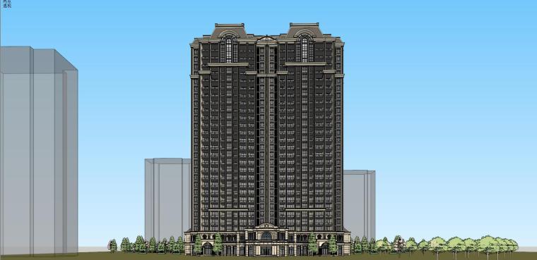 高层住宅建筑模型设计(法式风格)-法式高层 9#住宅 (2)