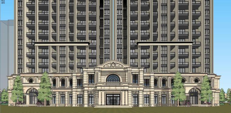高层住宅建筑模型设计(法式风格)-法式高层 9#住宅 (3)