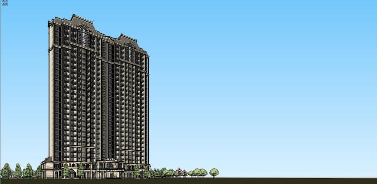 高层住宅建筑模型设计(法式风格)-法式高层 9#住宅 (5)