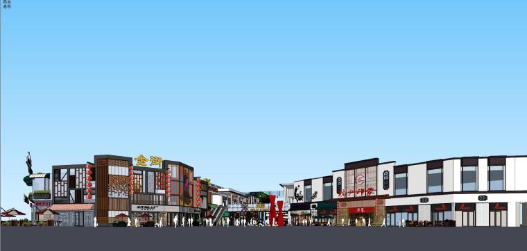 [浙江]杭州拱墅万达广场金街商业街建筑模