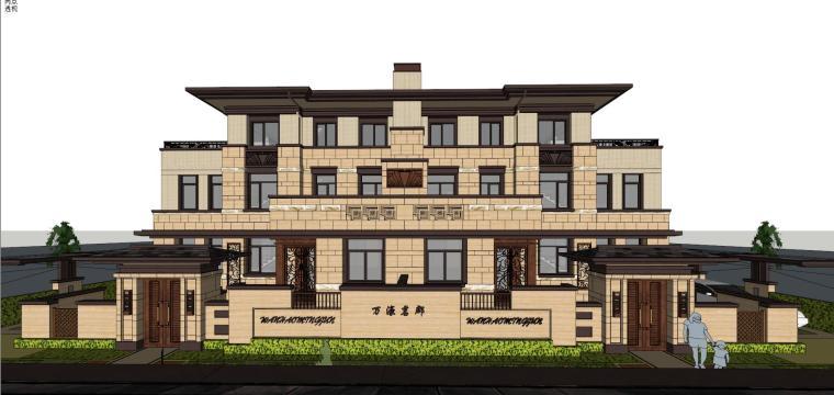 万濠山庄双拼别墅建筑模型设计-万濠山庄 草原风双拼-260南北入 (7)