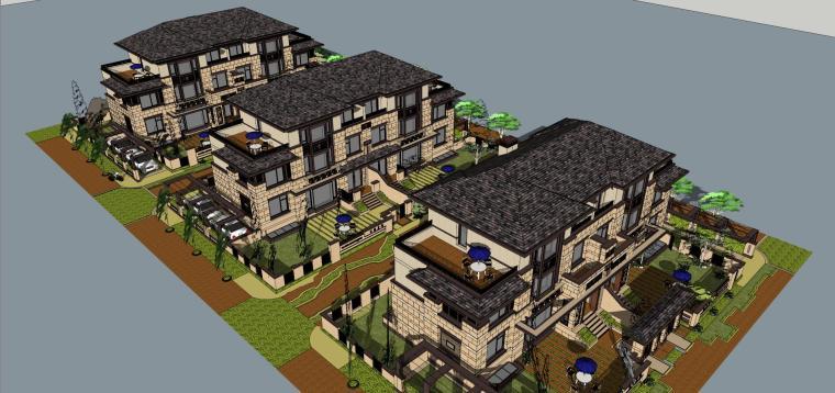 万濠山庄双拼别墅建筑模型设计-万濠山庄 草原风双拼-260南北入 (5)