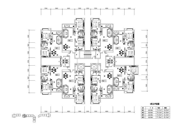 高层住宅组合户型平面图-户型图(7)