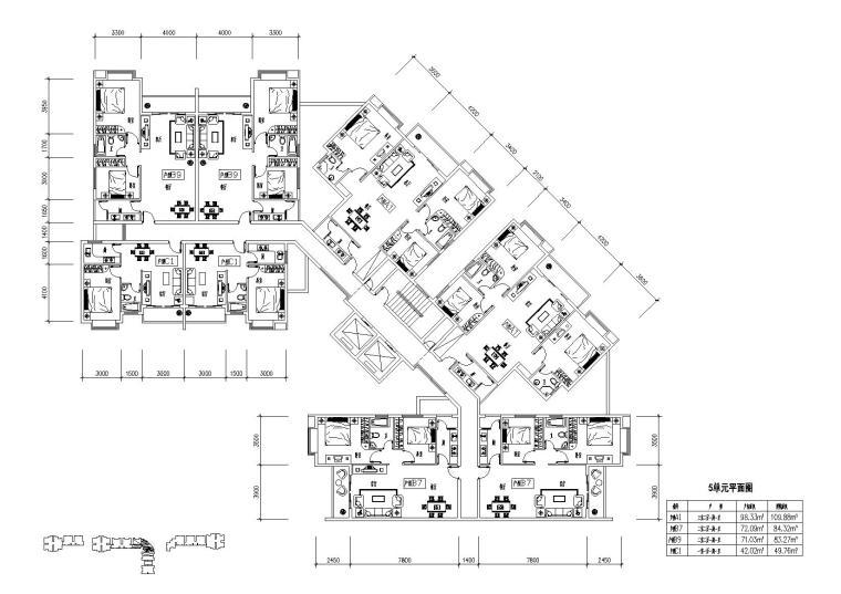 高层住宅组合户型平面图-户型图(9)