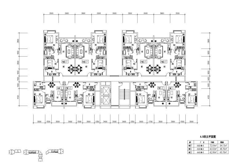 高层住宅组合户型平面图-户型图(8)
