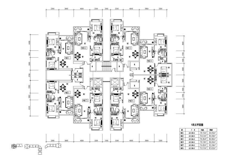 高层住宅组合户型平面图-户型图(5)