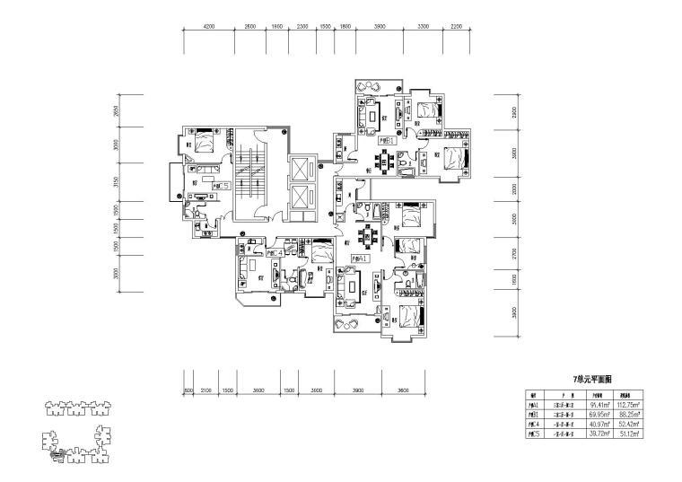 高层住宅组合户型平面图-户型图(4)