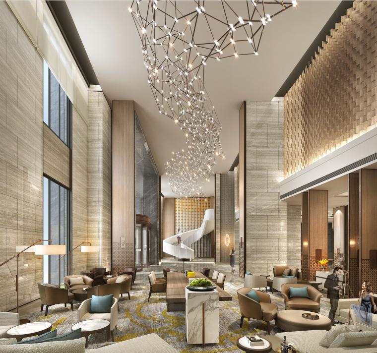 重庆国际酒店室内设计方案+效果图丨76P-09.大堂效果图1