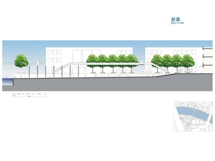 [上海]苏州河滨河景观地块详细规划设计文本-剖面