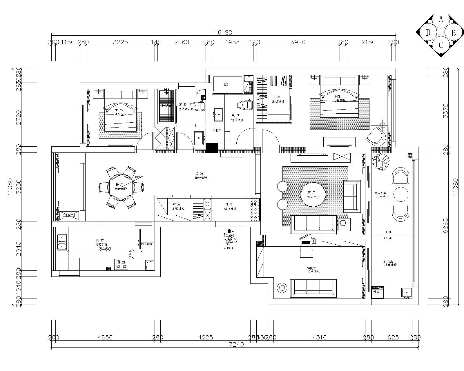 本资料为御河湾两居室样板房室内装修全套施工图+效果图  平面设计图片