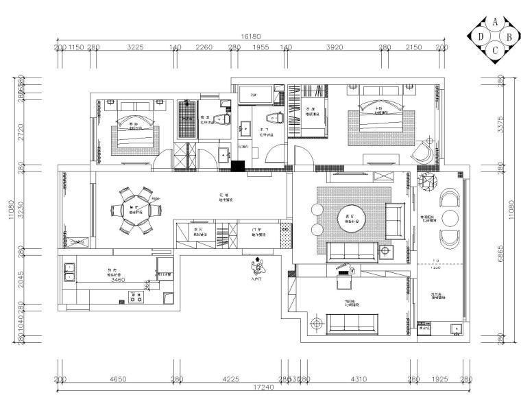 御河湾两居室样板房室内装修全套施工图