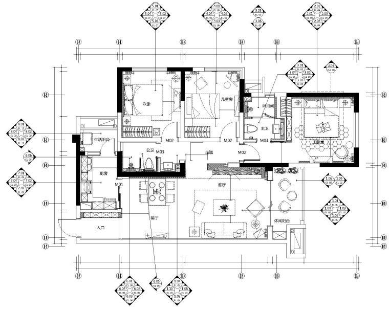 眉山凯旋国际公馆三居室样板室内装修施工图-1平面布置图