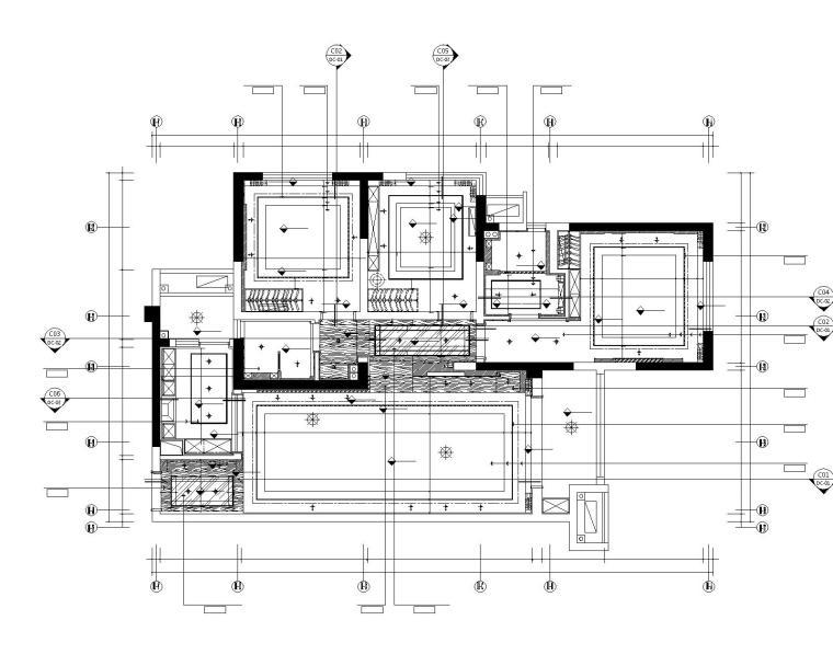 眉山凯旋国际公馆三居室样板室内装修施工图-2天花布置图