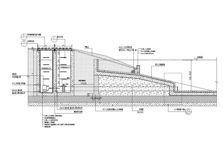 景观细部施工|车库顶板上水泵井做法详图