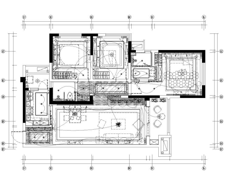 眉山凯旋国际公馆三居室样板室内装修施工图-5开关连线图